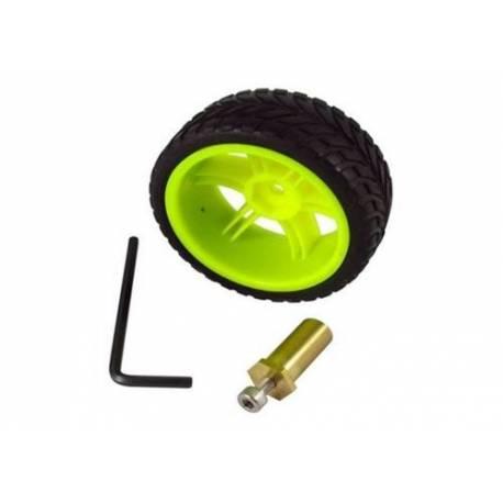 Roue 65mm avec moyeu laiton 4 mm (la paire)